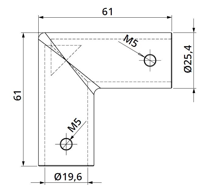 Conector 90° bara stabilizare cabina dus teava/teava 1