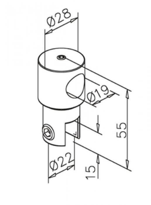 Conector fara trecere 180° bara stabilizare cabina dus teava/sticla 1