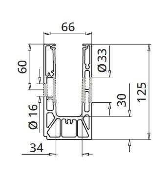 Profil U balustrada Easy Glass® Smart fixare laterala 1
