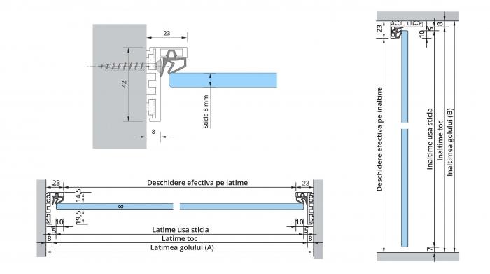 Set AT 23 inclusiv feronerie usa sticla 8-10 mm 1