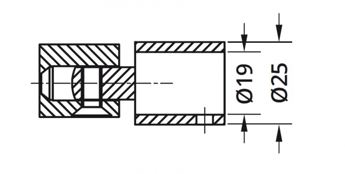 Conector reglabil bara stabilizare cabina dus teava/perete 1